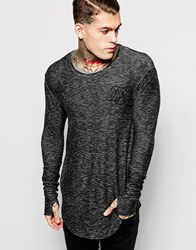 Sik Silk Siksilk Longline Long Sleeve Fitted T Shirt Black