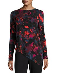 H Halston Printed Asymmetrical Knit Top Red Marble Multi