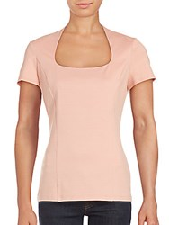 Lafayette 148 New York Cotton Blend Short Sleeve Solid Top Daiquiri