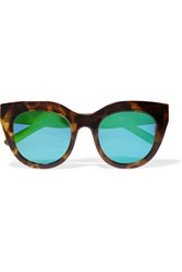Le Specs Air Heart Cat Eye Acetate Mirrored Sunglasses Tortoiseshell