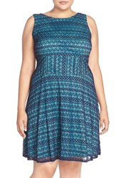 Plus Size Women's London Times 'Ric Rac' Lace Fit And Flare Dress