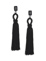 Oscar De La Renta Long Beaded Silk Tassel Clip On Earrings