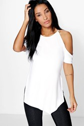 Boohoo Cut Out Shoulder Side Split Tee White