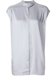 Transit Relaxed Fit Contrast Panel Button Down Sleeveless Shirt Grey