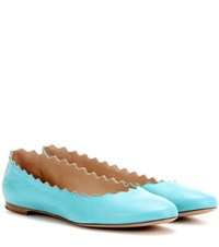 Chloe Lauren Leather Ballerinas Turquoise