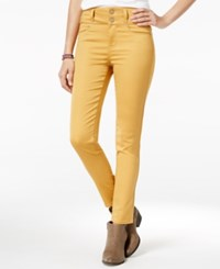 Tinseltown Juniors' 2 Button High Waist Colored Skinny Jeans Gold