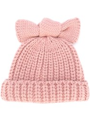 Federica Moretti 'Knitted Bow' Beanie Pink And Purple