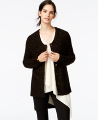 Rachel Rachel Roy High Low Metallic Cardigan Army Black