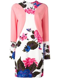 Msgm Floral Print Dress Pink And Purple