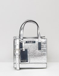 Carvela Metallic Mock Croc Mini Cross Body Bag Silver