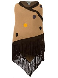 Babjades Embroidered Fringed Wide Scarf Brown