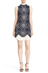 Tracy Reese Women's Resse Crochet Lace Mock Neck Dress Navy