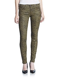 Current Elliott Coated Animal Print Ankle Jeans Army