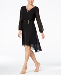 Thalia Sodi Lace Up High Low Dress Only At Macy's Deep Black