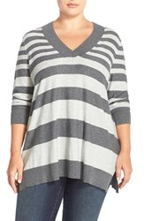 Plus Size Women's Sejour V Neck Sweater Grey Varigated Stripe