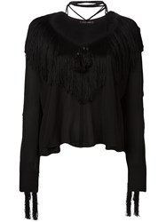 Plein Sud Jeans Fringed Blouse Black