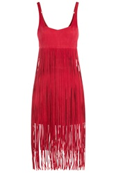 Tamara Mellon Fringed Suede Jumpsuit Red