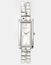 Karen Millen Rectangular Face Watch With Stone Set Bracelet Silver