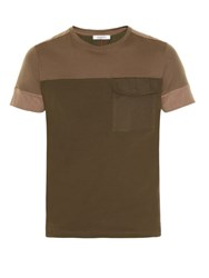Valentino Contrast Panels Short Sleeved T Shirt Khaki