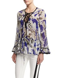 Roberto Cavalli Feather Print Lace Up Tunic Top Blue Rosa Blu Rosa