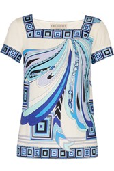 Emilio Pucci Printed Silk Jersey Top Blue