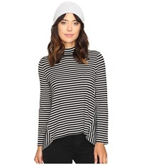 Bb Dakota Cynthia Stripe Drapey Knit Top Black Women's Clothing