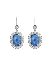 Penny Preville 18K White Gold Oval Opal And Diamond Drop Earrings Women's