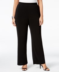 Ny Collection Plus Size Pull On Wide Leg Pants Black