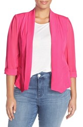 Plus Size Women's City Chic Drapey Mixed Media Blazer Shocking Pink