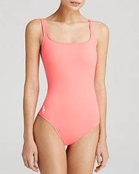 Ralph Lauren Blue Label Classic Pony Martinique Tank One Piece Swimsuit Fiery Coral