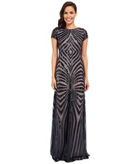 Donna Morgan Isabelle Cap Sleeve Beaded Gown Midnight Nude Women's Dress Black