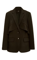 Tibi Tropical Wool Layered Ruffle Blazer Black