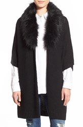 Women's Nordstrom 'Cocoon' Short Sleeve Open Cardigan With Faux Fur Collar