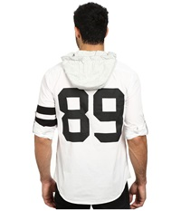 Dkny Long Sleeve Roll Tab Varsity Printed Hooded Shirt Casual White Men's Sweatshirt
