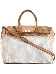 Numero 10 Two Tone Flap Tote White