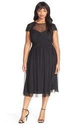 Alex Evenings Embellished Cap Sleeve Tea Length Party Dress Plus Size Black