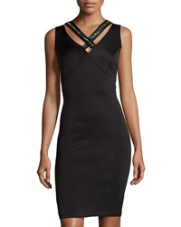Sangria Embellished V Neck Sleeveless Dress Black