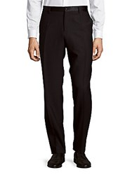 Dolce And Gabbana Straight Leg Virgin Wool Silk Blend Dress Pants Black