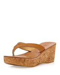 K. Jacques Leather Thong Wedge Sandal