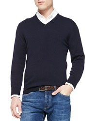 Brunello Cucinelli Cashmere V Neck Pullover Sweater Navy