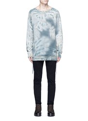Faith Connexion Tie Dye Print Lace Up Side Distressed Cotton Sweatshirt Multi Colour