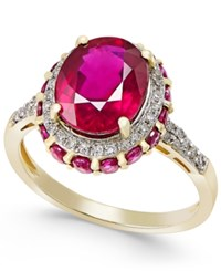 Macy's Ruby 4 Ct. T.W. And White Sapphire 1 3 Ct. T.W. Oval Ring In 10K Gold Red