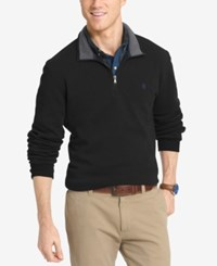 Izod Men's Quarter Zip Breathable Fleece Shirt Black