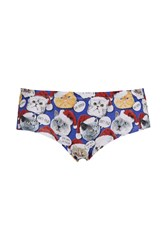 Topshop Christmas Cat Cheeky Knickers Blue