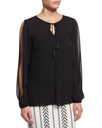 Petite Tie Neck Slit Sleeve Silk Blouse Caviar Black Women's St. John Collection