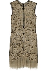 Alexander Mcqueen Chain And Sequin Embellished Tulle Tunic Gold