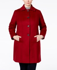 Anne Klein Plus Size Wool Cashmere Single Breasted Walker Coat Only At Macy's Red
