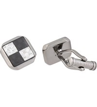 Ted Baker Cardbon Checked Square Cufflink Gunmetal