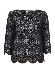 Part Two Feminine Blouse In Soft Lace Fabric With Cropped Black