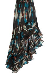 Matthew Williamson Ruffled Printed Silk Organza Maxi Skirt Purple
